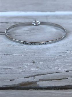 Choose Love Inspirational Bangle Bracelet comes in Silver or Gold  Currently obsessing over stackable bracelets. Handmade Beaded Bracelets are our go-to. Social Butterfly brings together a specially curated collection of clothing and accessories. From the latest trends to the most comfortable everyday attire at an affordable price.  Ships from the USA, unique style, fashion trends, fashion jewelry, inspirational bracelets
