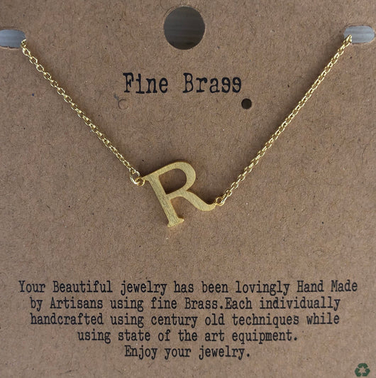 "Gold Initial ""R"" Necklace"