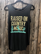 Raised on Country Music Black Draped Tank w/Cactus by Brokedown Clothing