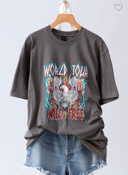 Charcoal World Tour Wild & Free Eagle Graphic T-Shirt