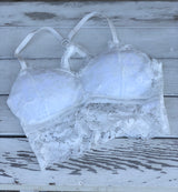White Lace Bralette with Racerback Straps and Removable Padding OS