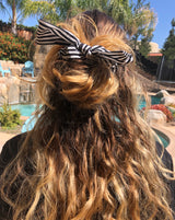 Black & White Stripe Top Knot Hair Scrunchie