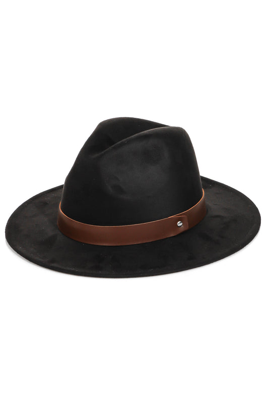 Black Flat Brim Fedora Hat w/Brown Strap and Adjustable Sizing