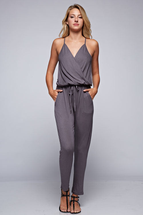 Charcoal Wrap Top Jersey Jumpsuit by Lovestitch