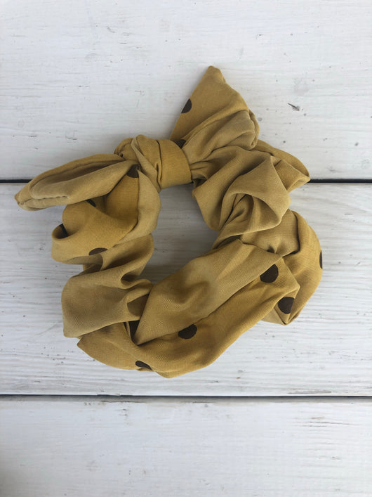Mustard w/Brown Polka Dots Top Knot Scrunchie