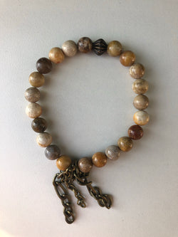 Handmade Beaded Bracelet - Fall Colored Beads w/Brass Chains