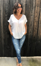 White V-neck Naked Zebra Blouse