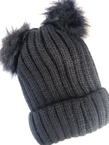 Black Knit Beanie with Fur Lining and Double Pom Poms