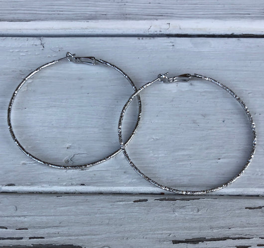 Large Silver Bling Hoops