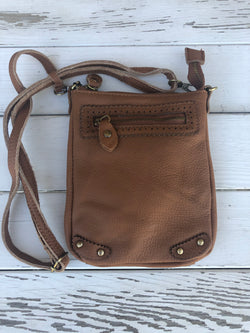 Genuine Leather Mini Camel Crossbody Purse with adjustbale strap and Outside Zipper Pocket