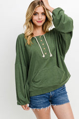 Olive Green Button Down Kangaroo Pocket Sweater