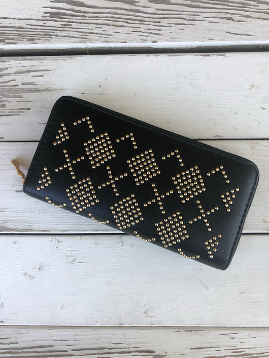 Black with Gold Beaded Design Wallet