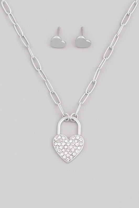 Sweetheart Pave Silver Lock Pendant Necklace & Heart Earring Set