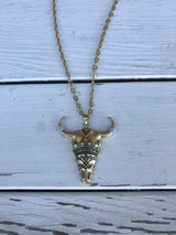 Tribal Bull Head Long Gold Necklace