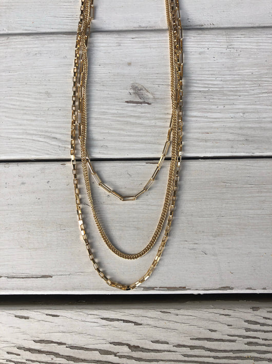 Layered Gold Chains & Links Necklace