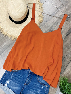 Burnt Orange Cami with Tortoise Ring Detail