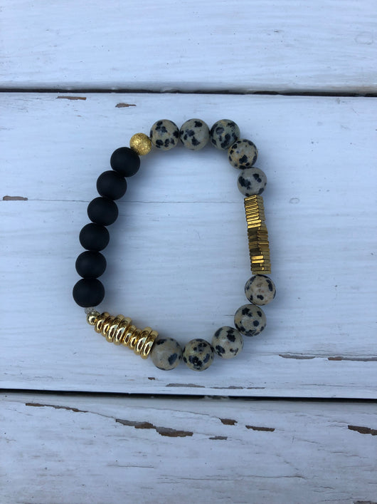 Handmade Beaded Bracelet - Black & Black/White w/gold spacers