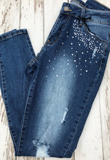Distressed Rhinestone Pockets Skinny Jeans by Hammer   Take your outfit to the next level with OC Social Butterfly's hand selected, specially curated stylish pants. You can't go wrong a great pair of distressed skinny jeans, comfy joggers or linen pants.  Ships from the USA, unique style, fashion trends, comfortable jeans