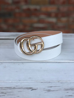 "White Faux Leather ""GO"" Belt with Gold Buckle"