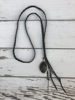 Black Braided Necklace w/a Gold Anchor & Black Stone Pendant