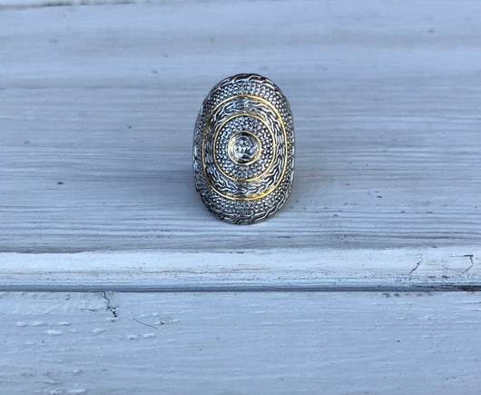 Oval Shaped Silver & Gold Ring