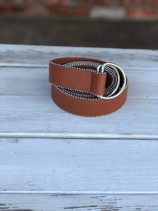 Rust OS Belt with Silver Loops & Trim