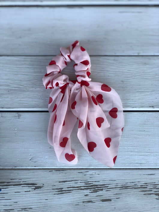 Red Heart Top Knot Hair Scrunchie