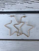 Matte Gold Star Outline Hoop Earrings