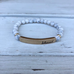 White Beaded Stretch Bracelet with Blessed Gold Bar