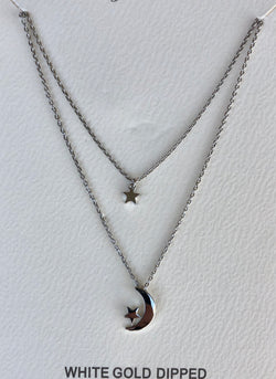 Moon & Stars Layered Silver Necklace