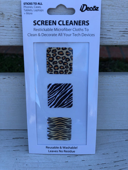 3 pk. Animal Prints Swipe Wipes Microfiber Screen Cleaner Sticker - Restickable & Washable   Take your outfit to the next level with OC Social Butterfly's accessory collection. Currently obsessing over chandelier earrings, stackable bracelets, layered necklaces, summer totes and even phone accessories!  Ships from the USA