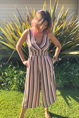 Dusty Rose, Black and Cream V-Neck Stripe Jumpsuit w/Pockets & criss Cross side detail by Illa Illa
