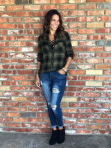 Olive Plaid Button Down Flannel by Be Cool. Take your outfit to the next level with OC Social Butterfly's hand selected, specially curated outerwear. You can't go wrong a great flannel, jean jacket or comfy vest.  Ships from the USA, OC Social Butterfly boutique, unique style, flannels, fall fashion, layered look