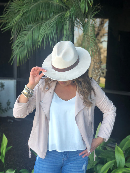 Ivory Flat Brim Fedora Hat w/Brown Strap and Adjustable Sizing