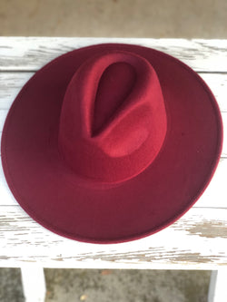 Burgundy Felt Fedora Hat with Flat Brim