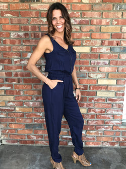 Jumpsuit Navy with Zipper and Double Pockets