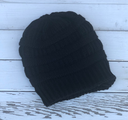 Black Knit Beanie with Fur Lining