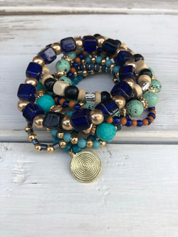 Multi Stone & Black, Turquoise and Blue Set of 8 Beaded Stretch Bracelets