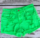 Neon Green Distressed Cut-Off Shorts