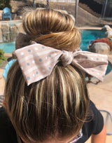 Beige Stripe & Polk Dot Top Knot Hair Scrunchie