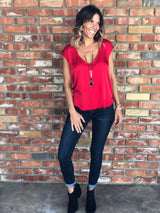 Red V-Neck Tank with Frayed Trim by Olivaceous