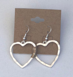 Silver Heart w/Gold Wire Fish Hook Earrings