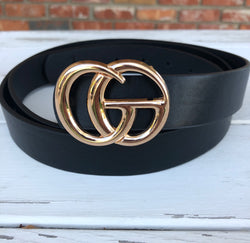 "Plus Size Black Faux Leather ""GO"" Belt with Gold Buckle"