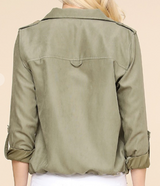 Light Olive Utility Crop Safari Jacket W/Zip Closure & Buttons and Drawstring Bottom