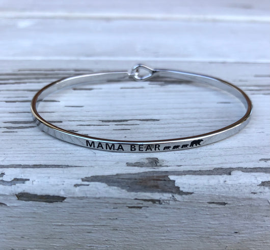 Silver Mama Bear w/3 Baby bears Inspirational Bangle Bracelet