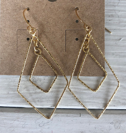 Gold Dainty Diamond Shape Fishhook Earrings