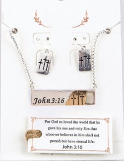 Abalone & Silver John 3:16 Crosses Necklace and Earring Set