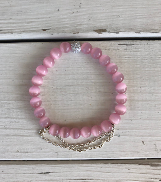 Handmade Beaded Bracelet - Pink Glass Beads w/Silver Ball and Silver Chains