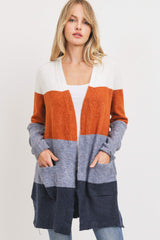 Long Sleeve Colorblock-Navy, Orange and Ivory Cardigan