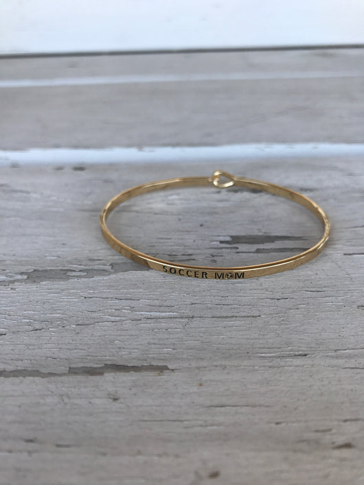 Soccer Mom Inspirational Bangle Bracelet